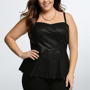 Torrid Faux Leather Laser Cut Black Tank Top 3